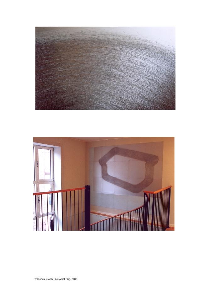 Trapphusinteriör för webbbyrån Comfirm.com, aluminiumplattor 50x50cm-st, olje- lackfärg, peterhefner, 2000
