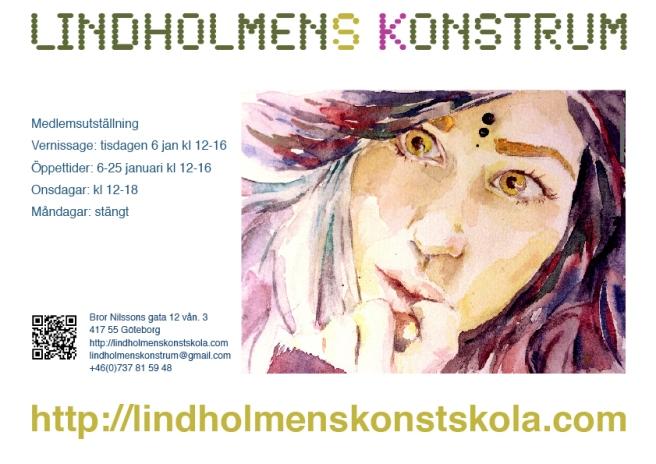 Lindholmens Konstrums medlemsutställning 6 januari 2015, A4-affisch