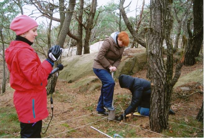 Martina, Nina, Birgitta gräver