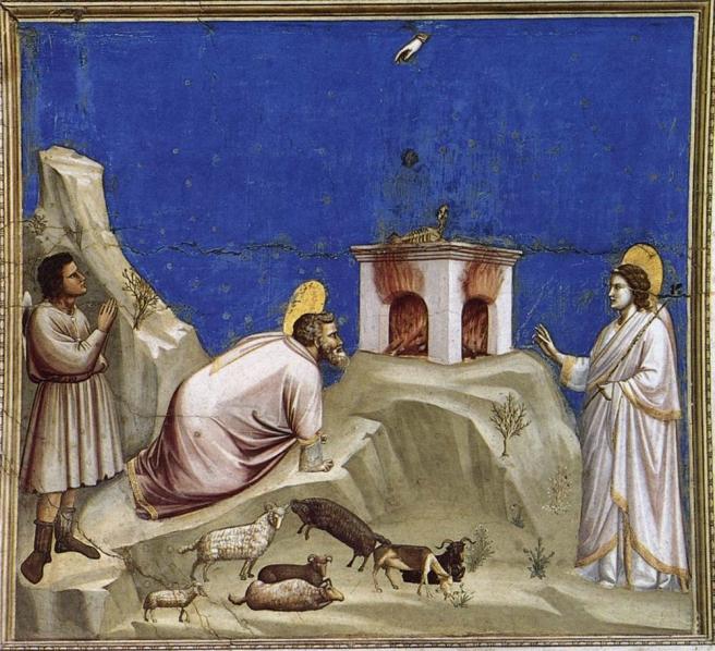Giotto- Joachim's Sacrificial Offering (1304) Arena Chapel, Padua, Italy